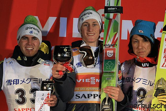 Top 3 heute: Jernej Damjan, Peter Prevc, Noriaki Kasai