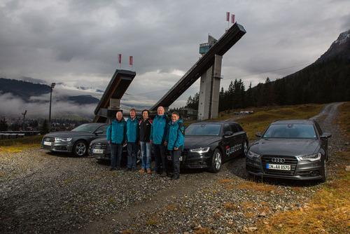 Vierschanzentournee fährt Audi: 16 Audi quattro Fahrzeuge für vier Schanzen